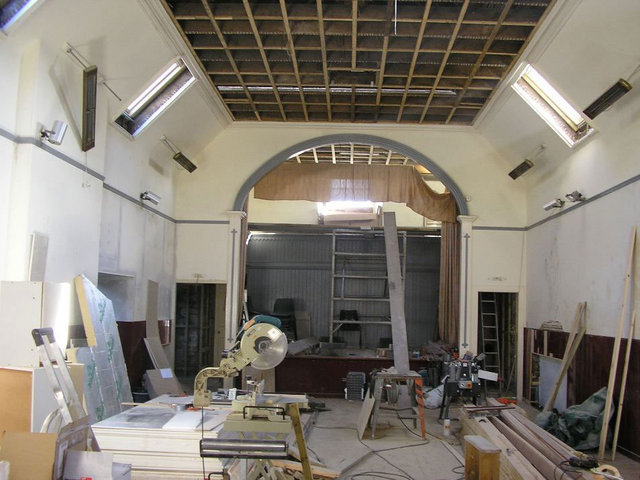 The main hall during the refurbishment work.